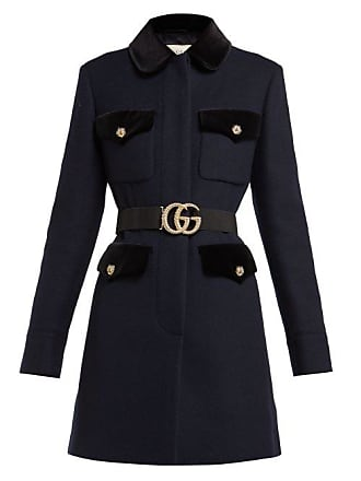 Gucci Velvet Trimmed Single Breasted Wool Coat - Womens - Navy Multi d09103b7220b