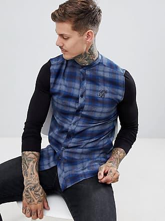 Siksilk Blårutig skjorta med farfarskrage och ärmar i jersey - Blå 8257b6b043496