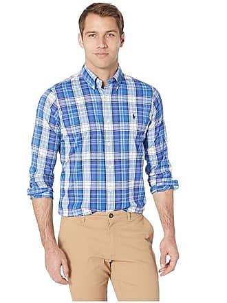 b5e6c9101 Polo Ralph Lauren Long Sleeve Classic Fit Poplin (Firebrick Navy Multi)  Mens Clothing