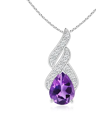 Angara Valentine Day Sale - Solitaire Pear-Shaped Amethyst Flame Pendant