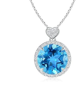 Angara Valentine Day Sale - Swiss Blue Topaz Halo Pendant with Diamond Heart Motif