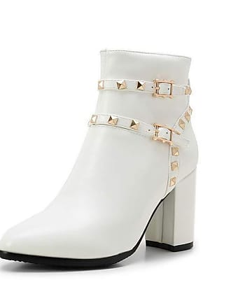 0e34800ad1d4c AdeeSu Womens Beaded Boots Solid White Urethane Boots SXC02997-4.5 UK