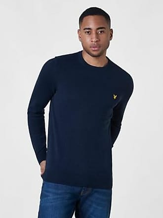 Lyle & Scott Stickad tröja Crew Neck Cotton Merino Jumper Blå