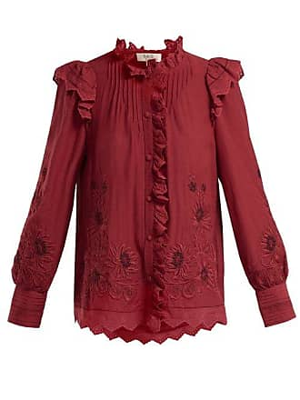 Sea New York Greta Floral Embroidered Cotton Blend Blouse - Womens - Red