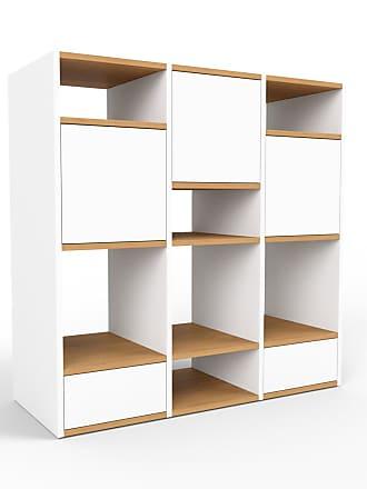 MYCS Regalsystem Weiß - Regalsystem: Schubladen in Weiß & Türen in Weiß - Hochwertige Materialien - 118 x 118 x 47 cm, konfigurierbar
