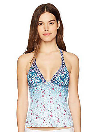 73fd25ff4f Lucky Brand Juniors Tile to Bloom Halter Tankini Top with Removable Cups,  Aqua, L