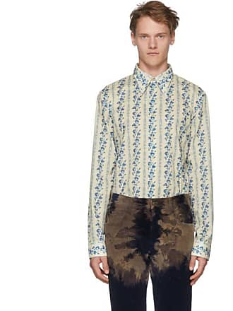 009471f1667 Gucci Off-White and Blue Floral Logo Shirt