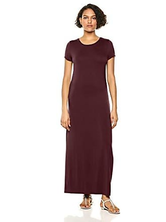 Amazon Essentials Womens Solid Short-Sleeve Maxi Dress, Burgundy, L