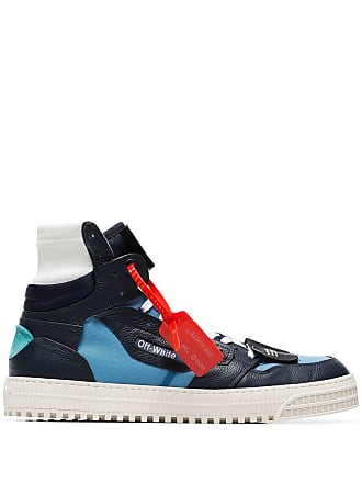 Off-white blue Court hi-top leather sneakers