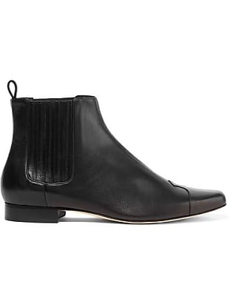 Trademark Heather Leather Ankle Boots - Black