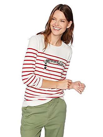 J.crew Womens Striped Crewneck Sweater, White/red, XXS