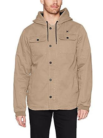 Hurley Mens Military Inspired Cotton Hooded Lined Jacket, Khaki, XXL