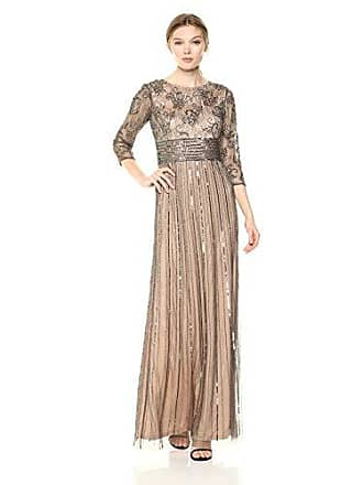 8d8392e06ad3 Adrianna Papell Womens Beaded 3/4 Sleeve Modified Mermaid Long Dress,  Lead/Nude