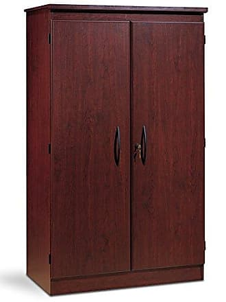 South Shore Furniture 7206970 Tall 2-Door Storage Cabinet with Adjustable Shelves, Royal Cherry
