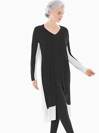Soma Colorblock Open Front Cardigan Duster Black/White, Size XXL