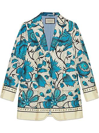 1b01e997c Gucci Blazer de seda com flores em aquarela - Neutro