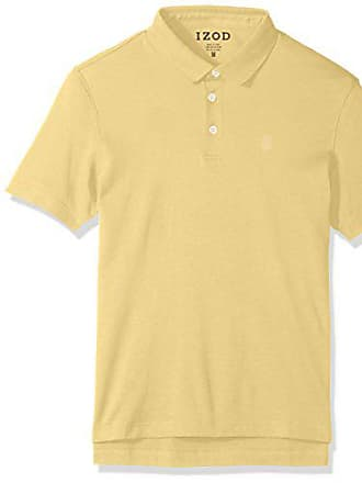 Izod Mens Winward Short Sleeve Solid Interlock Polo, Bright Sundress, Small