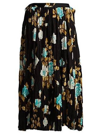 Junya Watanabe Floral Print Pleated Midi Skirt - Womens - Brown Multi