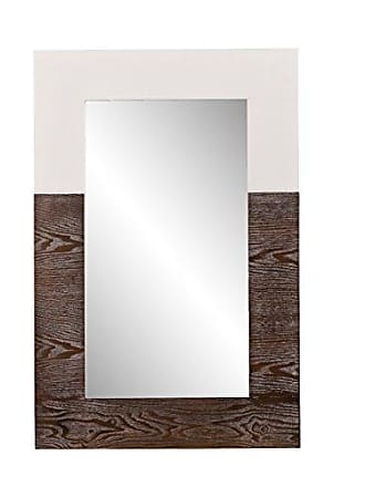 Southern Enterprises Wagars Wood Grain Wall Mirror - Two Tone Burnt Oak & White - Clean Modern Hanging Mirror