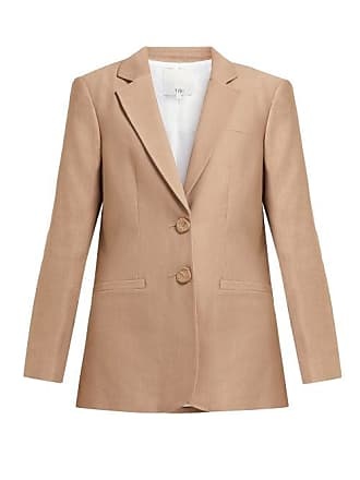 Tibi Sculpted Button Single Breasted Twill Blazer - Womens - Camel