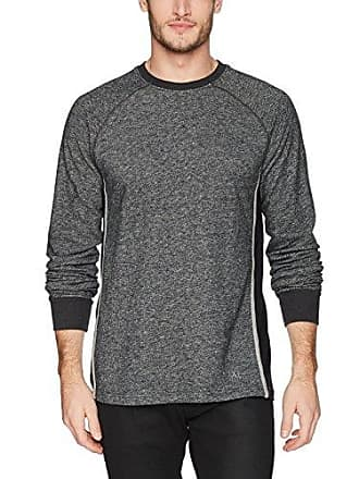 2(x)ist Mens Colorblock Crewneck Pullover with Mesh Detail Sweater, Black Heather/Heather Grey, Small