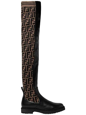 ea5b92189d9 Fendi Logo Stretch-knit And Leather Over-the-knee Boots