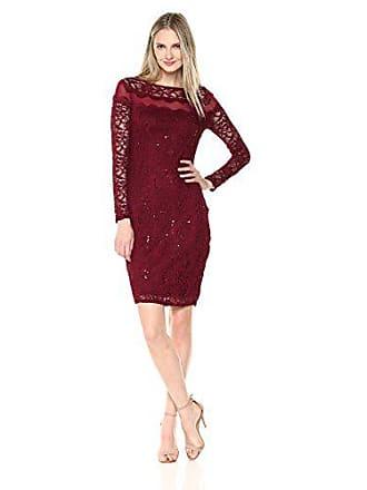 Marina Rossini Womens Short Lace Cocktail Dress, Burgundy, 4