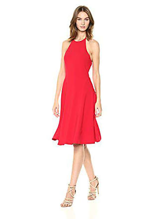 Susana Monaco Womens Tamara FIT and Flare Halter Dress, Perfect red, S