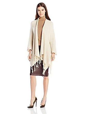 Kensie Womens Fringe-Detail Sweater Poncho, Dune Multi, One Size