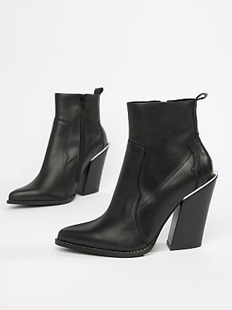 Asos Premium leather elka western ankle boots - Black