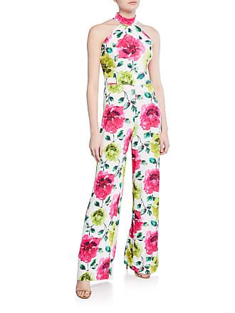 Alexia Admor Meghan Halter Floral-Print Crepe Jumpsuit