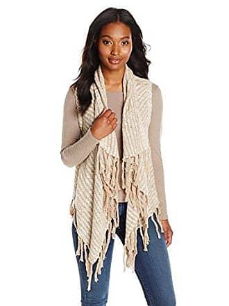 Kensie Womens Cotton-Blend Slub Vest, Latte Combo, Large