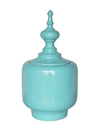 Sagebrook Home 12246-02 Modern Ceramic Covered Jar, Mint Ceramic, 9.5 x 9.5 x 18 Inches
