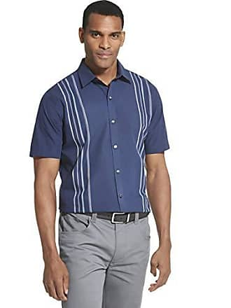 Van Heusen Mens Air Short Sleeve Button Down Panel Stripe Shirt, Blue Barge, Medium