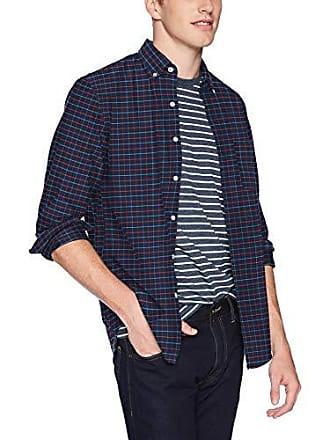 J.crew Mens Slim-Fit Long-Sleeve Oxford Tattersall Shirt, Blue Storm, XL