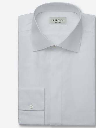 Apposta Camicia disegni bianco 100% puro cotone tela, collo stile semifrancese