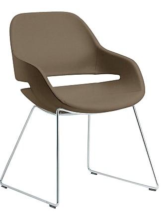 ZANOTTA Design Eva Slide Side Chair Chrome & Leather