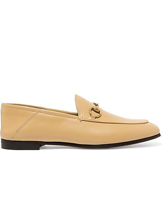d6e29cc22fe Gucci Brixton Horsebit-detailed Leather Collapsible-heel Loafers - Sand