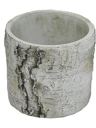 Three Hands Round Gray Terracotta Driftwood-Look Planter