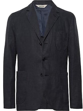 Aspesi Midnight-blue Slim-fit Unstructured Linen Blazer - Midnight blue