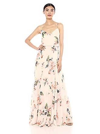 eef37dc1546b Jenny Yoo Womens Inesse Thin Strap V Neck Long Floral Chiffon Gown, Soft  Blush Multi