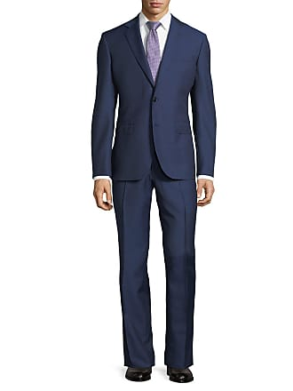 Neiman Marcus Dotted Wool Two-Piece Suit, Navy