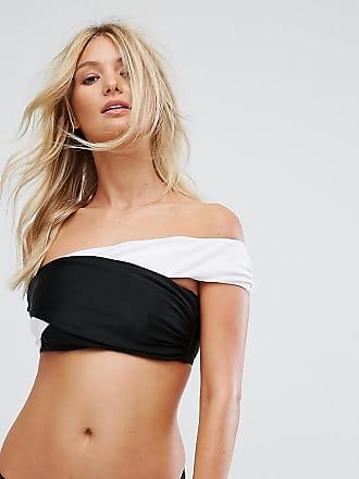 Wolf & Whistle Gefärbtes Bikini-Oberteil mit Carmen-Ausschnitt, Körbchengröße DD-G-Mehrfarbig