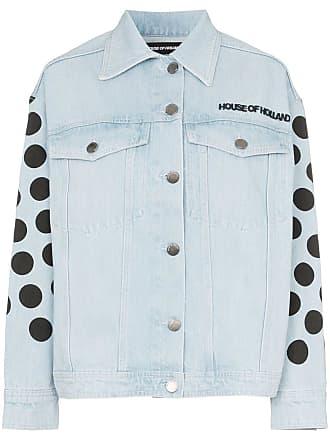 House Of Holland Jaqueta jeans de poá com logo - Azul