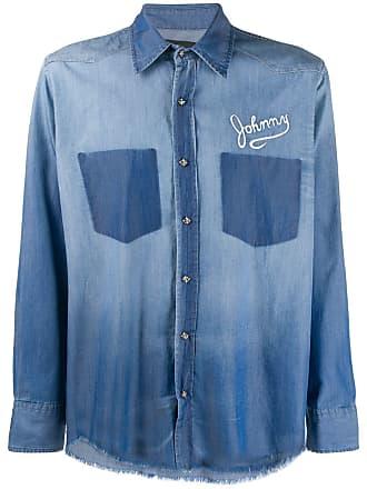 John Richmond Camisa jeans destroyed - Azul