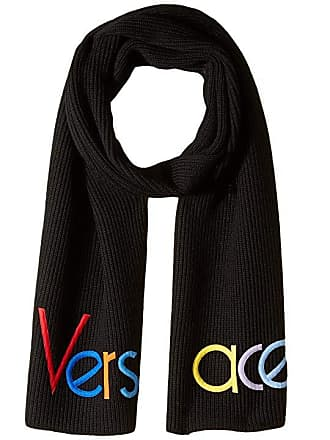 631cdc6257a Versace Half Logo Knit Scarf (Black) Scarves