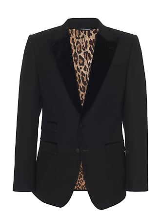 Dolce & Gabbana Velvet-Trimmed Peak Lapel Blazer