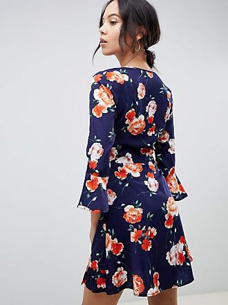373f454bd7e7 Influence Tall floral print ruffle detail wrap dress - Black