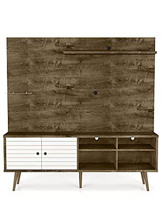 Manhattan Comfort 214BMC96 Liberty Complete Living Room Entertainment Center and TV Stand, Brown/White