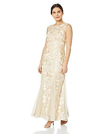 Alex Evenings Womens Embroidered Dress with Illusion Neckline, Champagne (Petite) 6P